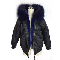 Black Bombers Dark Blue artificial lining Winter Spring Bomber Jacket fur Unisex style