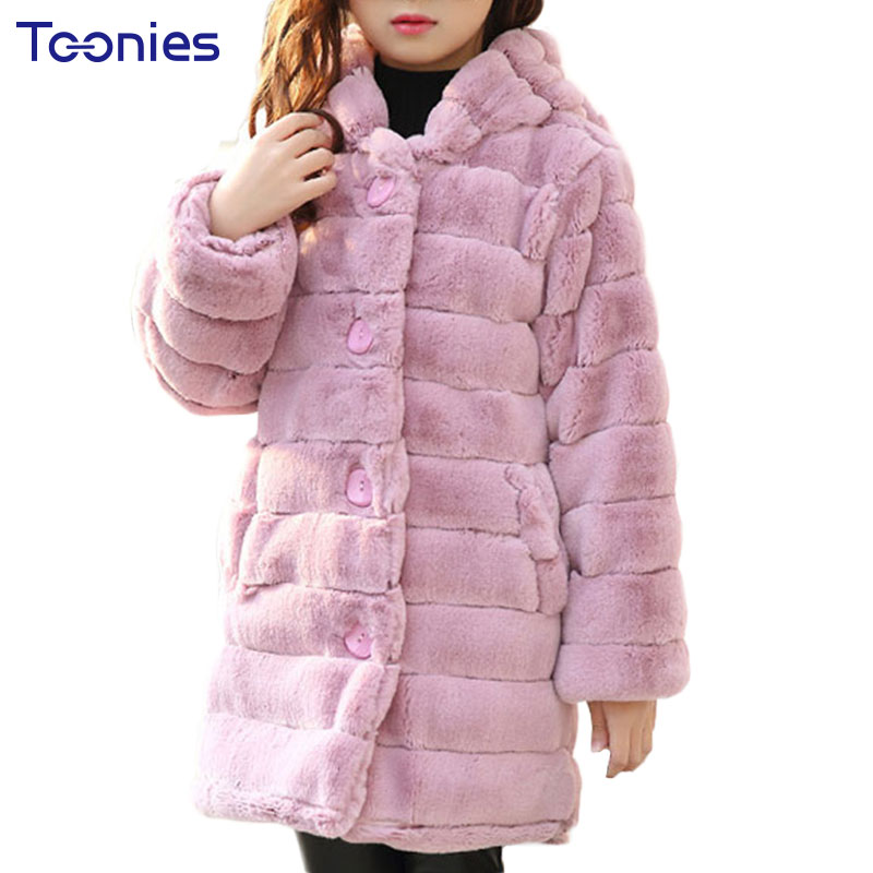 Big Girls Clothes Winter Jackets Warm Faux Fur Fleece Girl Coat Cute Hooded Kids Coats Long Child Parkas Fashion Outerwear Wool