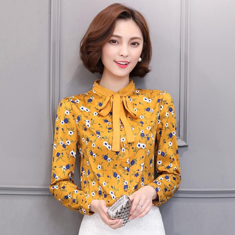 Très 2017 Primavera manica lunga elegante fiocco camicie donna camicia  OO91