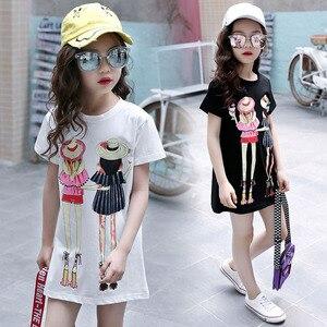 Image 1 - Children Clothing T Shirt Girls Summer 2019 Toddler Girl Shirts Cute Cotton Clothes for Big Kids Teenage Cartoon Long Tee Coats