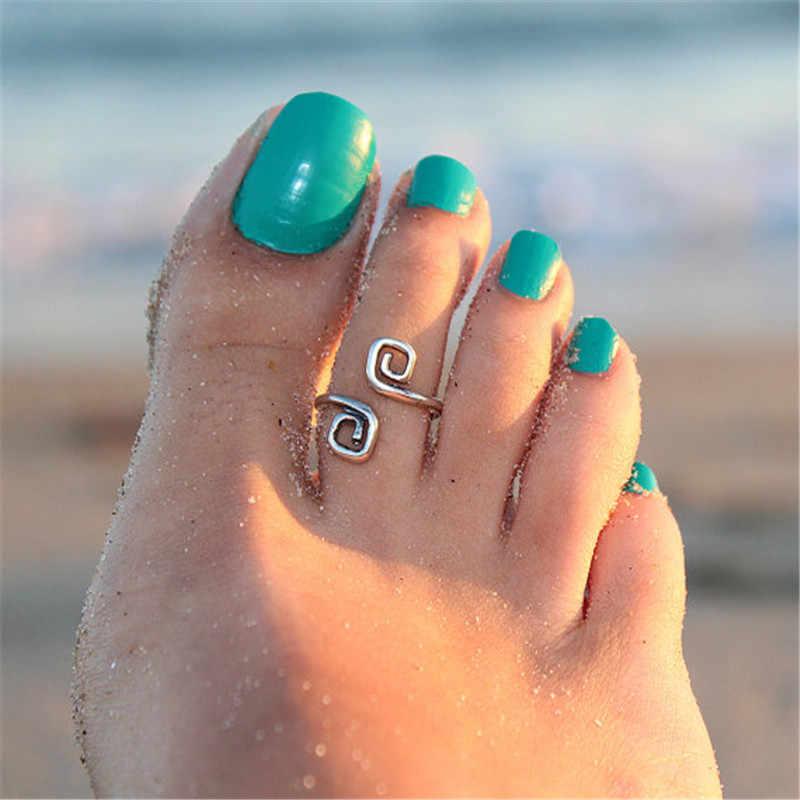 2018 moda praia pé anel toe único do vintage prata pé anéis para mulheres jóias para retro sorte número 8 anel 8rd7