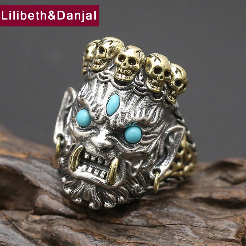 Men Ring 100 Real 925 sterling silver Lucky Buddha Adjustable fashion Big Skull engagement ring women
