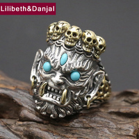 Men Ring 100% Real 925 sterling silver Lucky Buddha Adjustable fashion Big Skull engagement ring women jewelry 2017 R31