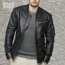 Lambskin genuine leather bomber jacket in black ribbed collar biker jackets moto coats manteau homme jaqueta de couro LT1320