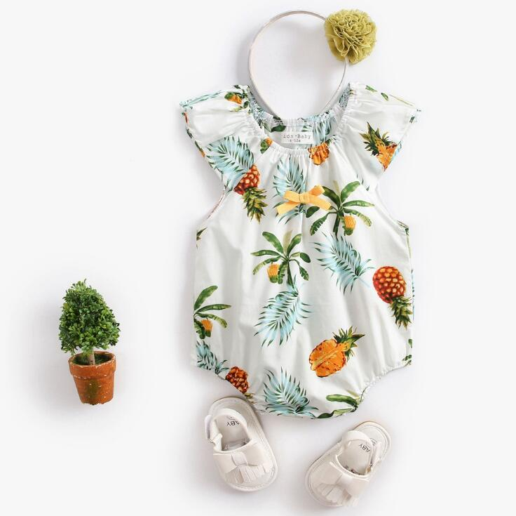 New summer baby bodysuit fashion sweet print cotton pineapple newborn children clothes
