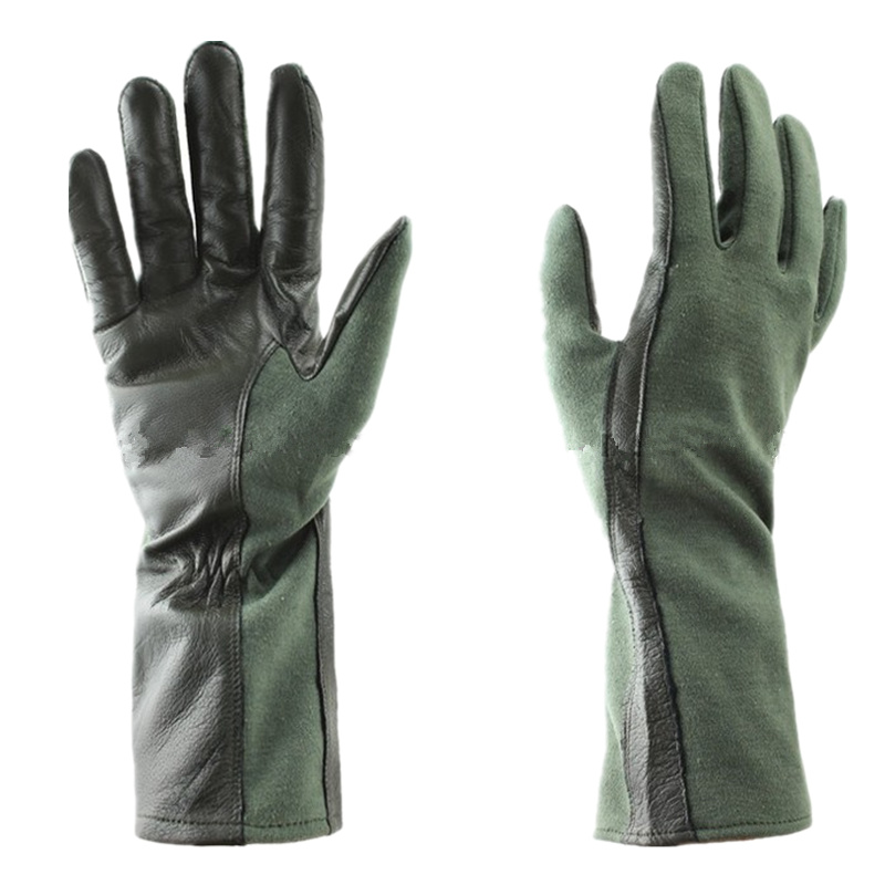 Military Tactical Gloves Leather Tactical Glove Nomex Style Tactical Pilot Gloves (OD Green BK)