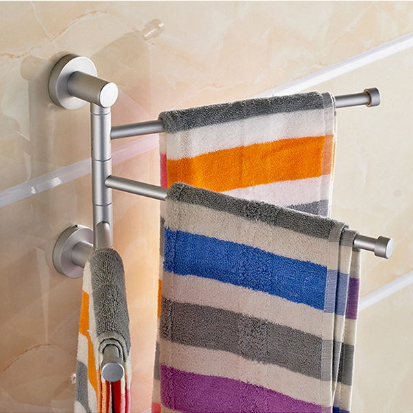 new 3 arms 360 degree rotating towel bars aluminium wall mounted bathroom towel rail rack bath