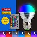 E14 E27 rgb led 4W 16 color changeable rgb led bulb Dimmable Lampada led 110v 220v rgb led lamp with memory and remote control