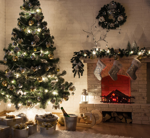 10x10ft Light Brick Wall Fire Fireplace Christmas Tree Garland