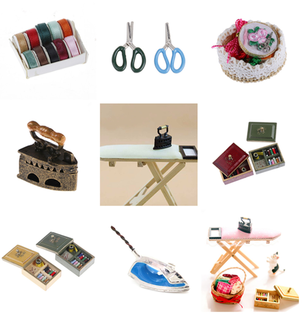 1:12 Miniature Vintage Antique Sewing Box Kit Dollhouse Decor DIY Accessories
