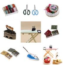 1:12 Miniature Vintage Sewing Box with Needle Scissors Kit Dollhouse Decoration Accessories Furniture Toys цена в Москве и Питере