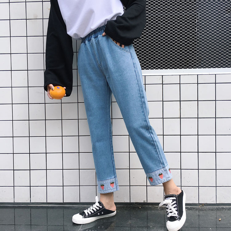 Autumn New Women Cute Casual Pants Korean Kawaii Cartoon Strawberry Embroidery Jeans Leisure High Waist Straight Denim Trousers