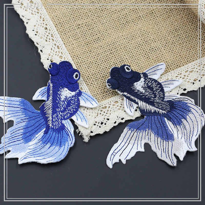 6 Buah Bordir Ikan Patch Bordiran Besi Pada Stiker Perbaikan Dekoratif Patch untuk Pakaian Lencana Kain Menjahit