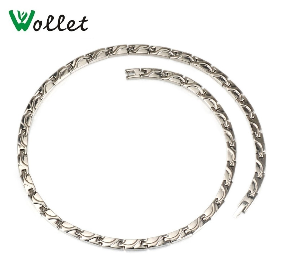 Wollet Jewelry Pure Titanium Bio Magnetic Necklace Women Silver Color Healing Energy Health Care Magnet