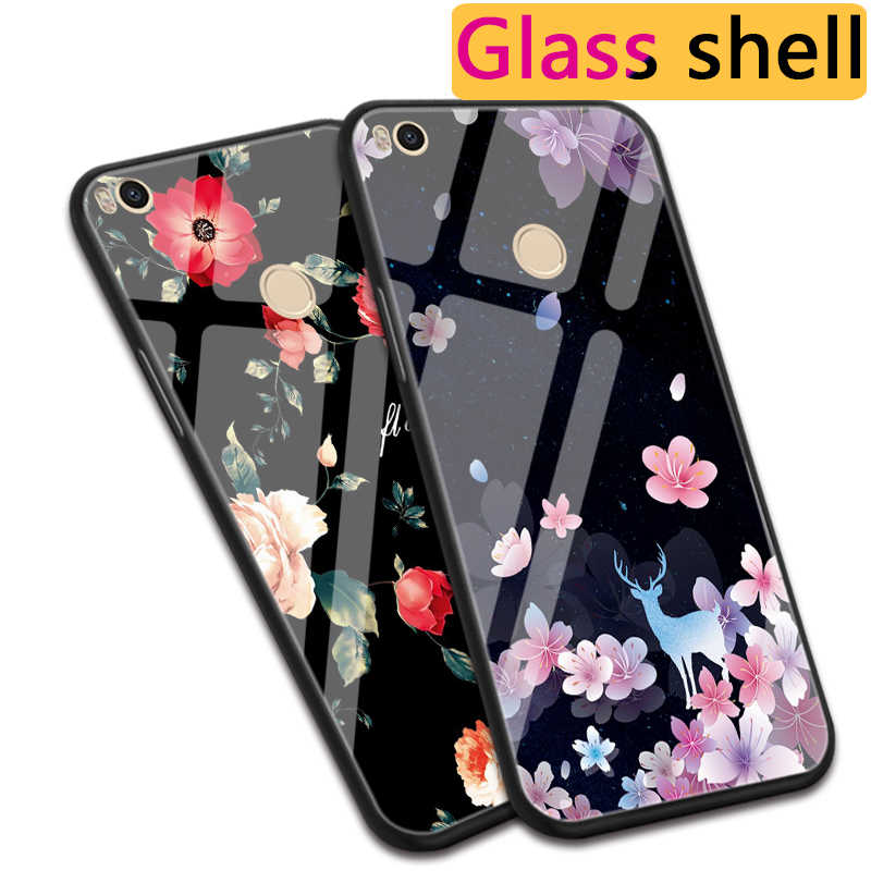 Luxury Rose Snowflake Tempered Glass Case For Xiaomi Mi Max 2 3 Pro Pink Plum Rose Peony Case For Xiaomi Mi Mix 2 2S / Mix Evo
