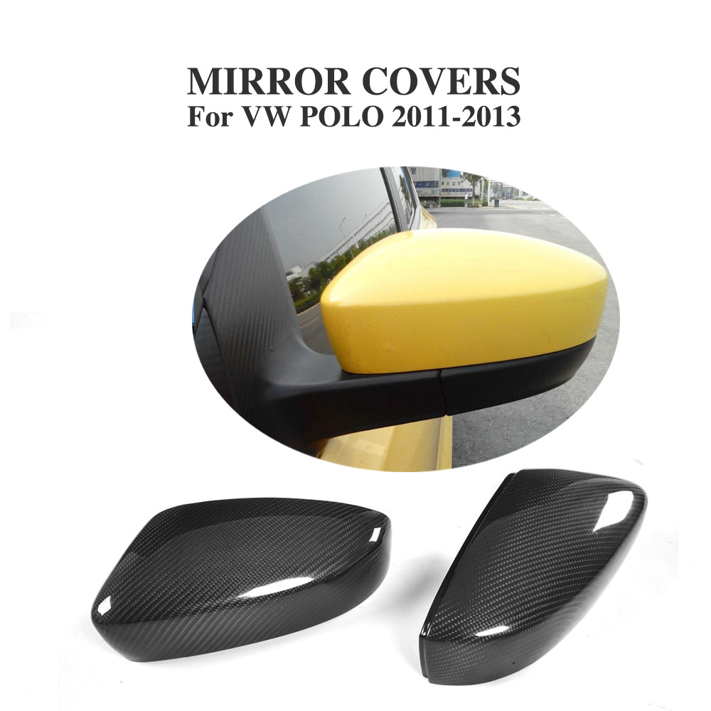 Carbon fiber Black full replacement Type Side Mirror Covers Caps for Volkswagen VW POLO 2011-2013 Car Accessories
