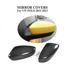 Czarny z włókna węglowego pełna wymiana typu boczne osłony lusterek czapki dla Volkswagen VW POLO 2011-2013 akcesoria samochodowe