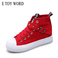 E TOY WORD 2017 Women Casual Shoes High Help Platform Fashion Colorant Canvas Shoes Lace Up