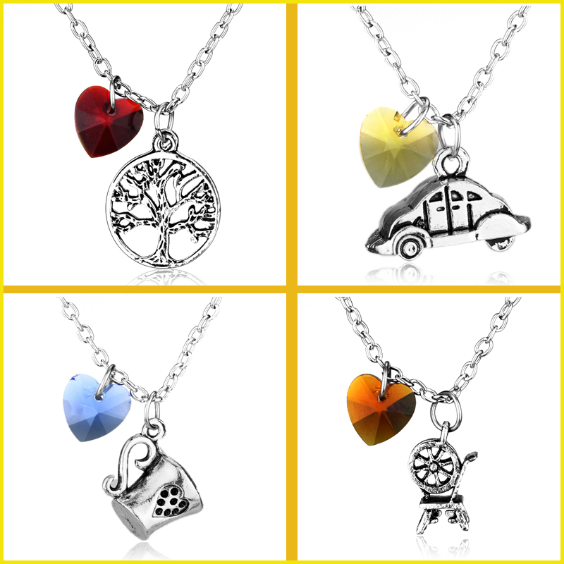 Emma Regina Belle Rumpelstiltskin Once Upon A Time Character Necklaces Maxi Apple Tree Statement Necklace Crystal Heart NECKLACE
