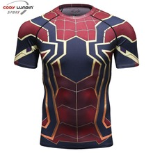 new 3D Iron Spiderman T-shirt Men Marvel Superhero Men T-Shirt Compres