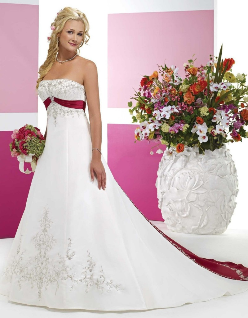 White and Red Wine Satin Wedding Dresses Long Strapless With Beaded ...