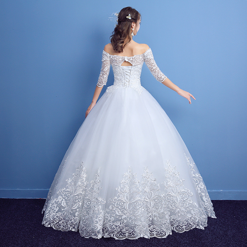 Image 3 - 2019 New Classic Half Sleeve Boat Neck Lace Wedding Dress Off The  Shoulder Appliques Customized Bridal Dress Vestido De Noiva LWedding  Dresses