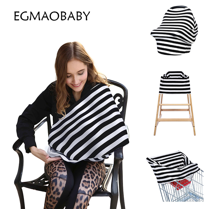 New Arrival Cotton Nursing Covers Baby Car seat Cover Multi Stripe Mum Stretchy Breastfeeding Cover nursing Scarf Blanket Cloth