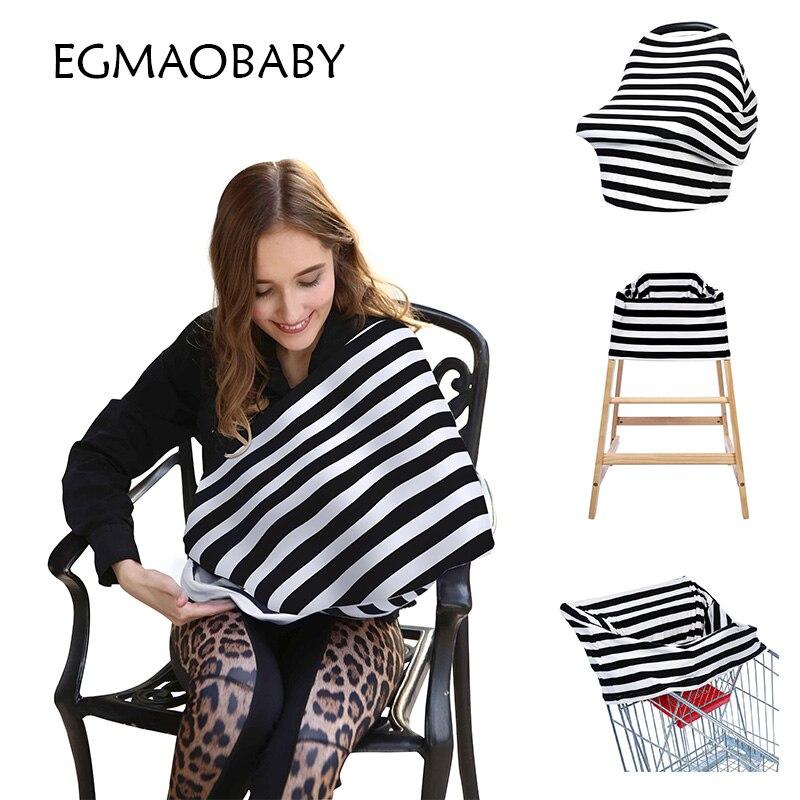 New Arrival Cotton Nursing Covers Baby Car seat Cover Multi Stripe Mum Stretchy Breastfeeding Cover nursing Scarf Blanket Cloth stylish geometry stripe scarf