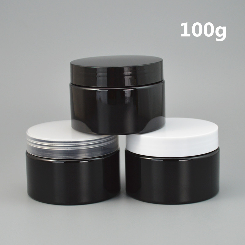 100ps/lot 30g 50g 100g Black container Plastic Cream Jar,3.5oz empty plastic Cream container with lids printable custom logo цены