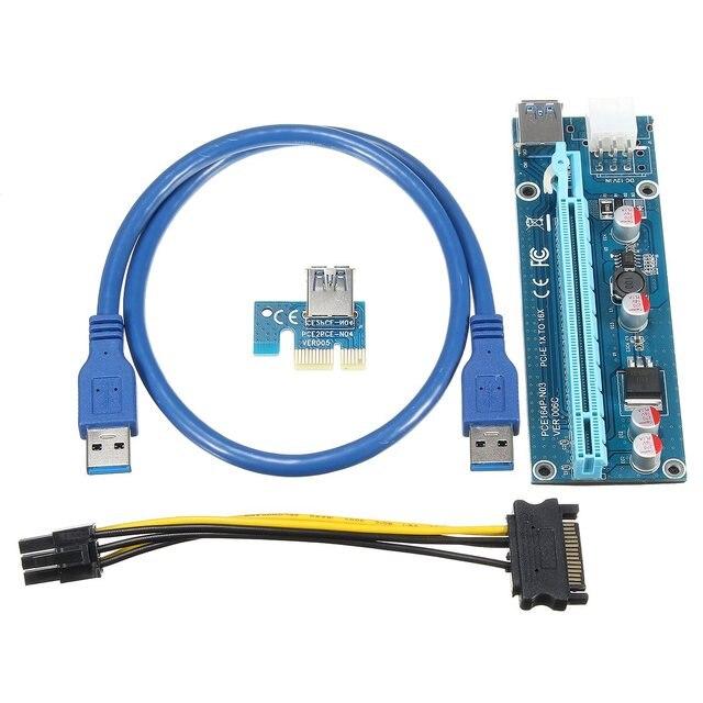 En gros 6 pcs USB 3.0 PCI-E Express 1X 4x 8x 16x Extender Riser Adaptateur Carte SATA broches Mâle à 6pin Puissance câble