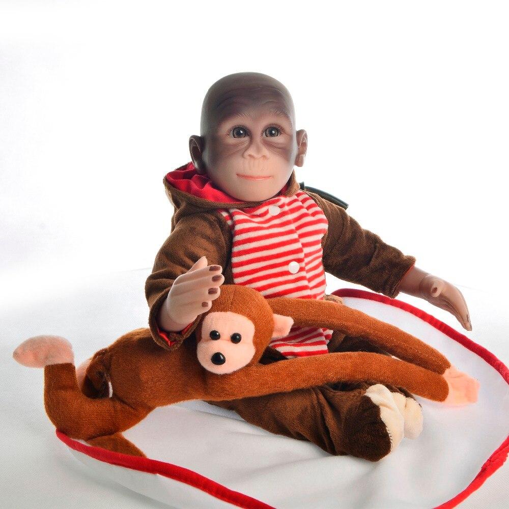 46 cm mignon singe Silicone Simulation Reborn bébé poupées réaliste nourrissons poupée jouets accessoire photographique avec de vrais vêtements en peluche doux