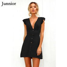 Junnior Ruffles Sleeve Peplum Ladies Dresses Elegant Solid Color Slim Fitting Dress Women Sexy V Neck Mini Dress Female Vestido