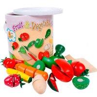 Criança de madeira brinquedo frutas legumes jogar casa crianças brinquedos de cozinha definir pacote barril