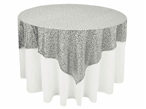 Perfect 90in Square Silver Sequin Tablecloth, Glitter Tablecloth, Sequin Square  Overlay For Wedding/Party