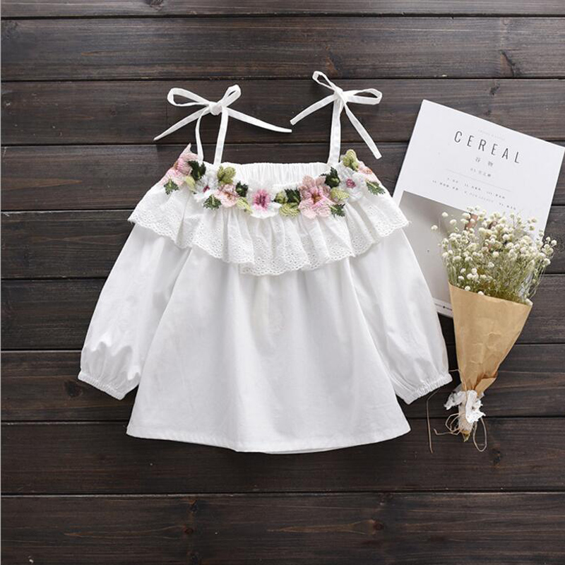 цены New 2017 Cotton Little Girls Shirt Off The Shoulder White T Shirt Kids Top Children Clothes Tolder Clothing kids Summer Blouse