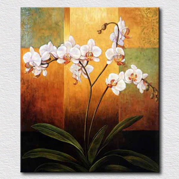 Aliexpress.Com : Buy Handpainted Art Paintings White Flowers On