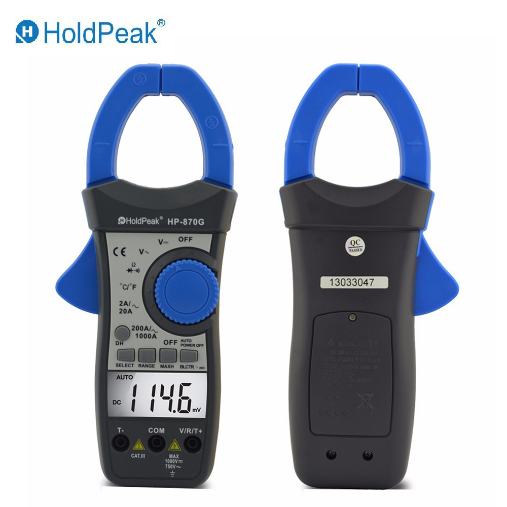 HoldPeak HP-870G Auto Range DC AC Voltage AC current Digital Clamp Meter Multimeter holdpeak hp 760g 1000volt