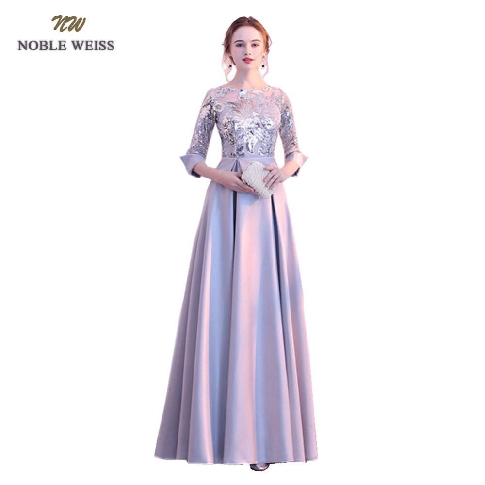 NOBLE WEISS Silver Evening Dresses A Line Floor Length Robe De Soiree In Stock Sequined Celebrity Dresses