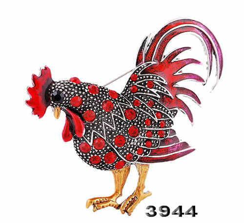 Big Trendi Ayam Broch Perhiasan Fashion Aneka Warna Kristal Rhinestone Bros Wanita Hewan Bros untuk Wanita Hot Berlayar