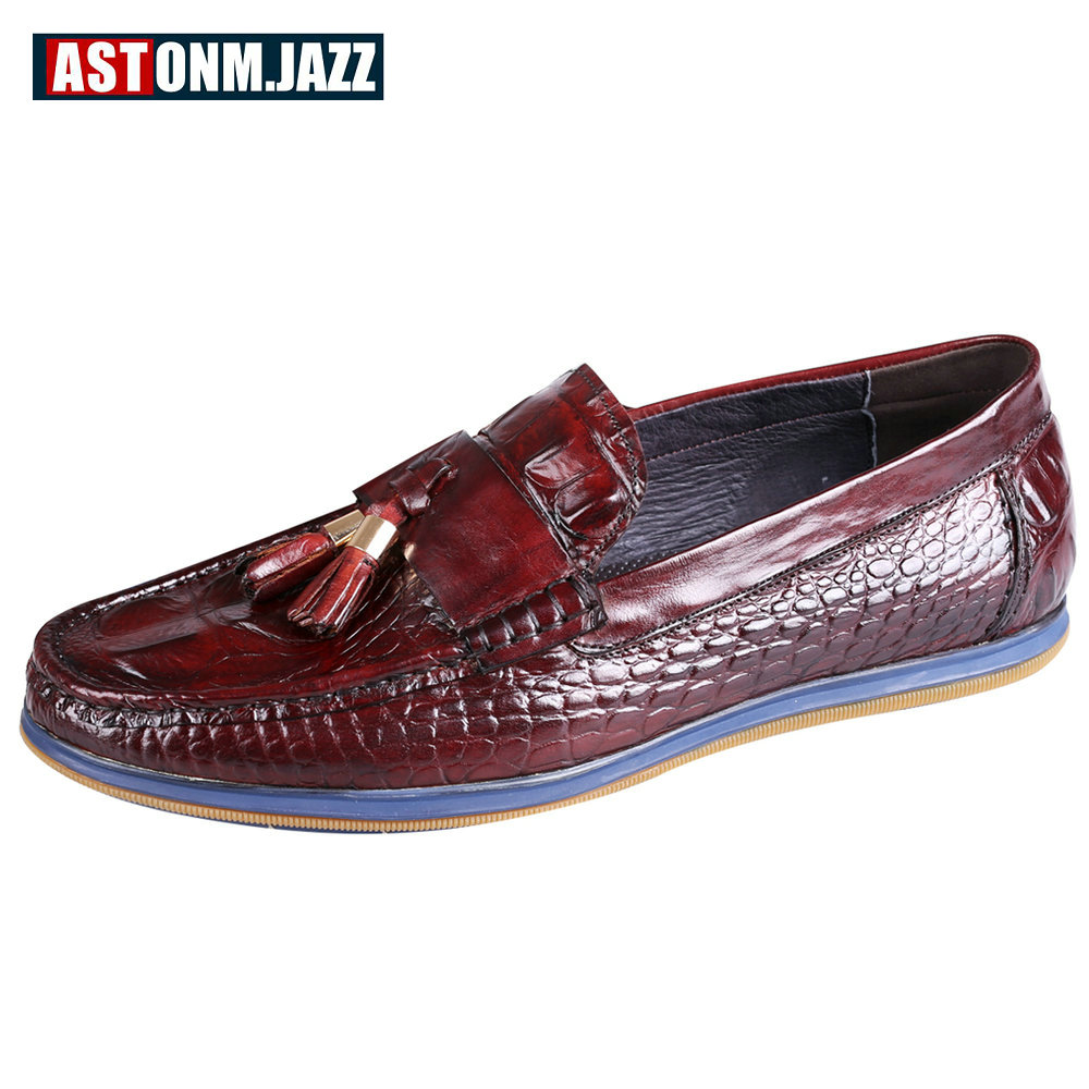 Men's Casual Emboss Crocodile Genuine Leather Boat Shoe Slip-on Penny Loafers Moccasins Fashion Flat Shoes Men's Driving Shoes klywoo breathable men s casual leather boat shoes slip on penny loafers moccasin fashion casual shoes mens loafer driving shoes