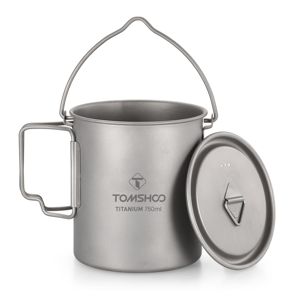 TOMSHOO Ultralight 750ml Titanium Pot Portable Titanium Water Mug Cup With Lid And Foldable Handle Outdoor Camping Cooking Pot