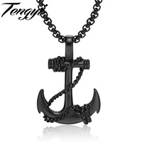 TENGYI Cross Anchor Pendant Necklace For Man Gold Black White Stainless Steel Cable Hook Men Jewelry