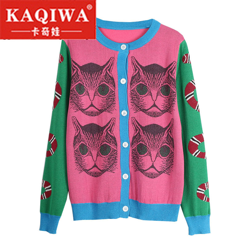 2018 Spring Knitting Snake Cat Pattern Novelty Jumper Lady Top Pull Sueter Mujer Sweater Runway Design Knit Cardigan Sweater