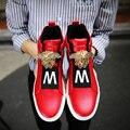 Los hombres del diseñador de los hombres high top zapatos casuales mocasines lace up de alta plataforma de los zapatos de los hombres