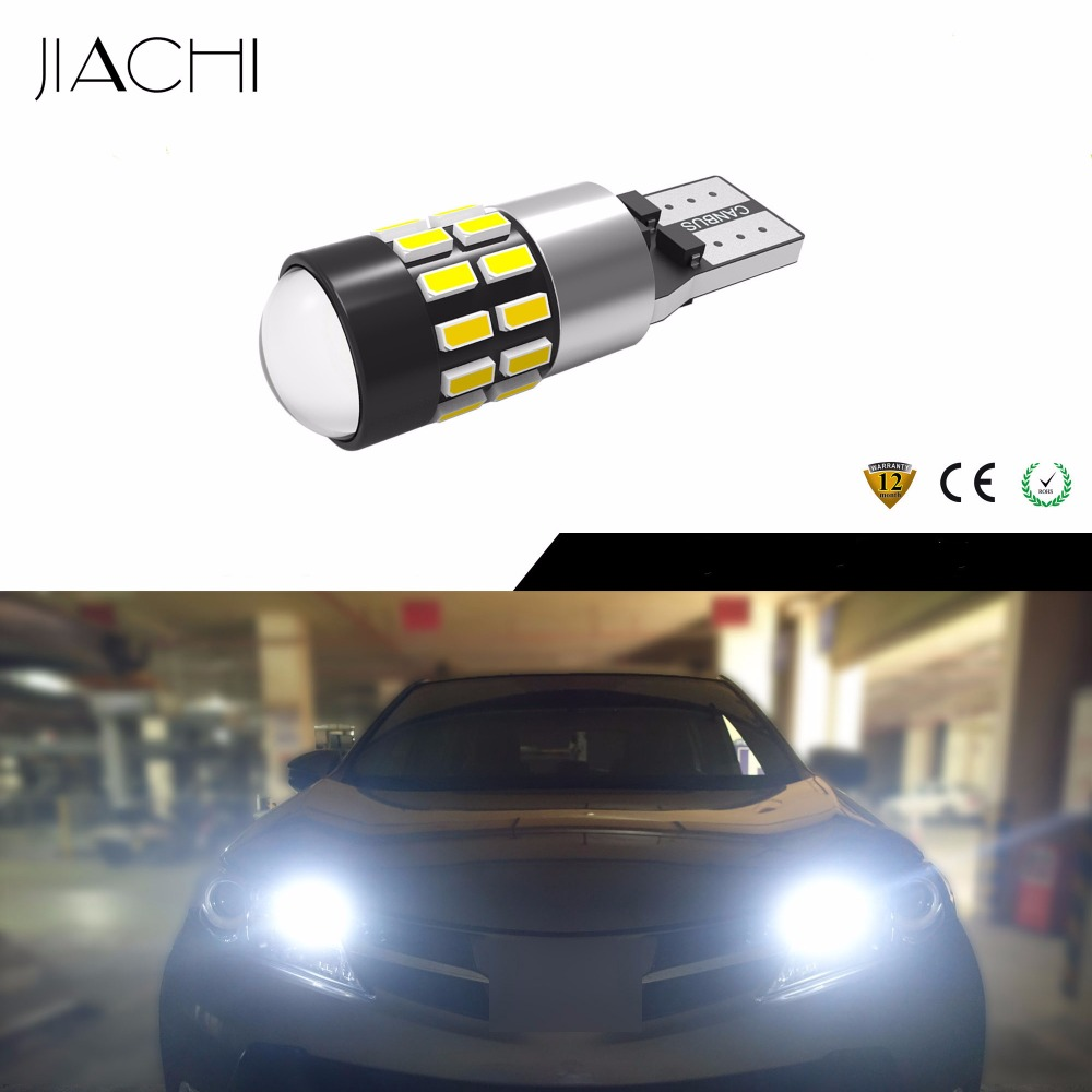 JIACHI 100 x T10 LED CANBUS Bulbs W5W 194 168 LED 3014SMD 30Chips With Lens 12V 24V Use For Auto Car Clearance Light Xenon White