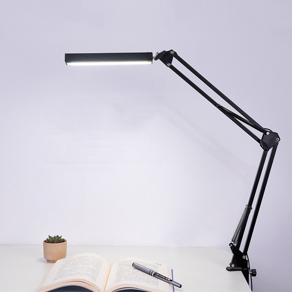 LED Swing Arm Desk Lamp Dimmable Bright Flexible Arm Lamp Clamp for Architect Engineer Reading Office Folding Table Light 4 level brightness led office table desk lamp touch dimming rechargeable bedside reading light for study engineer architect