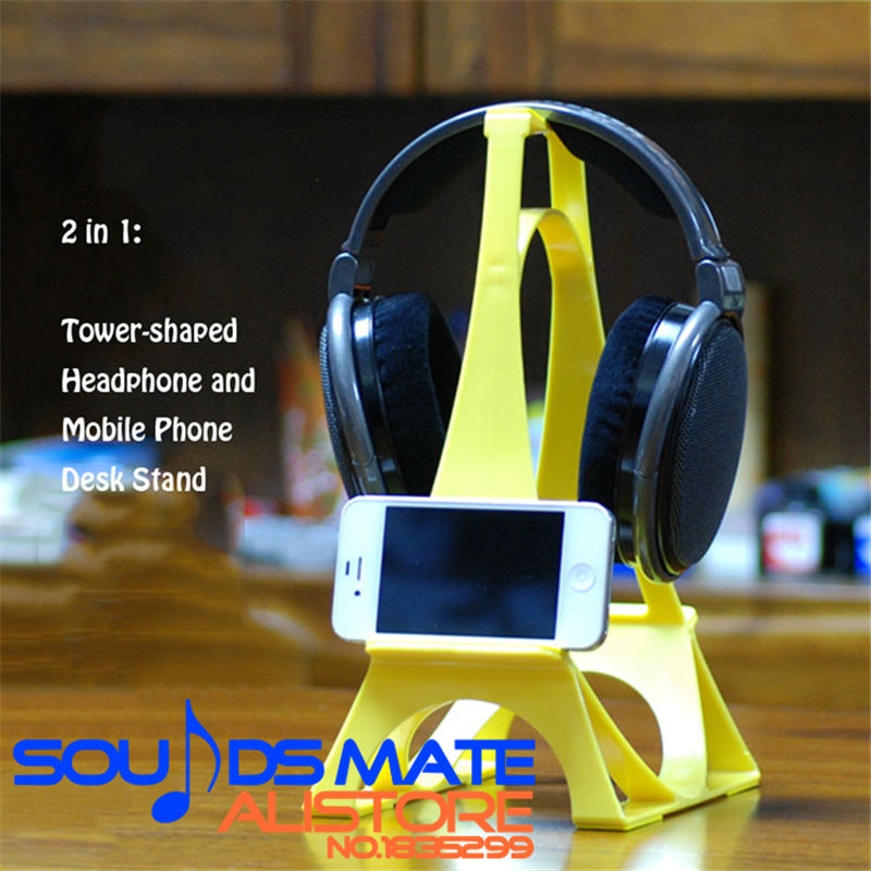 Tower Shaped On Ear / Over Ear Around Ear Headphone Display Stand Holder With Phone Shelf