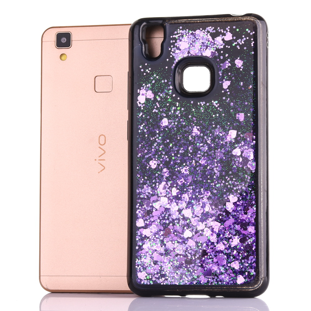 For Vivo V5 /y67 Dynamic Liquid Glitter Sand Quicksand Star Soft Tpu Case For Vivo V3 V3max Y51 Y55 Y66 Crystal Black Back Cover Half-wrapped Case Cellphones & Telecommunications