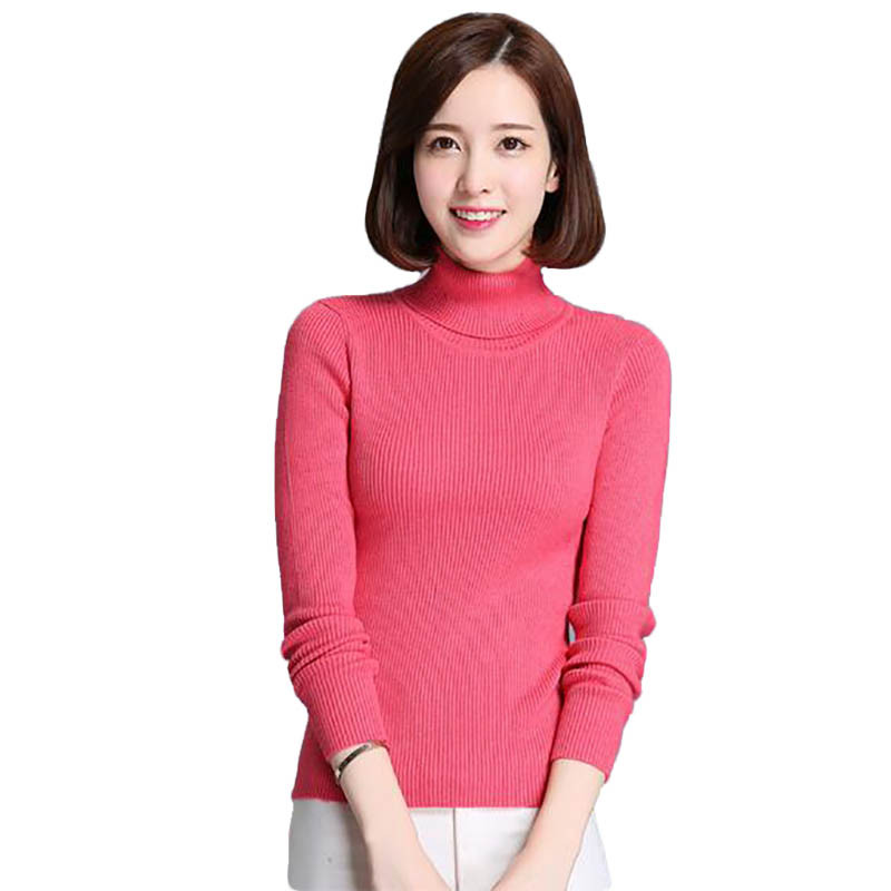 Women Turtleneck Cashmere Pullover Ladies Sweaters Hot Sale Wool Knitted Sweater -6742