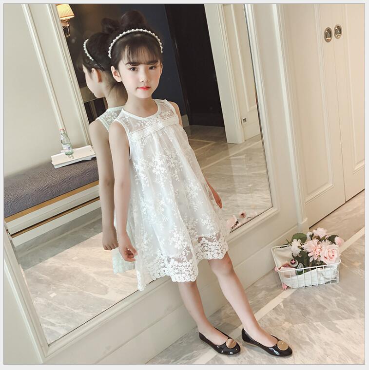 Blanc dentelle floral robe d'été bébé fille décontracté robe de princesse pour un costume de vacances pour une fille fête d'anniversaire 12 ans